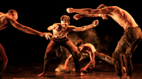 Hunter Page-Lochard (centre) with Leonard Mickelo, Luke Currie-Richardson and Daniel Riley McKinley in Blak. Photo: Greg Barrett