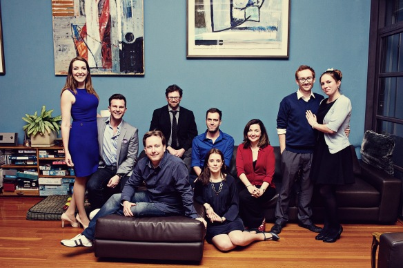 The Independent Music Theatre team. Left to right: Lisa Campbell, David Campbell, Neil Gooding, Michael Huxley, Richard Carroll, Simone Parrott, Michelle Guthrie, Jay James-Moody and Jessica Burns