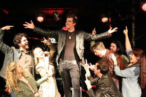 Peter Meredith (centre) and the cast of Bloody Bloody Andrew Jackson. Photo: Michael Francis