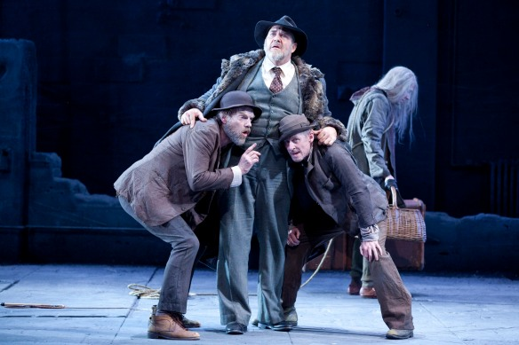 Hugo Weaving, Philip Quast,  Richard Roxburgh and Luke Mullins in Waiting for Godot. Photo: Lisa Tomasetti