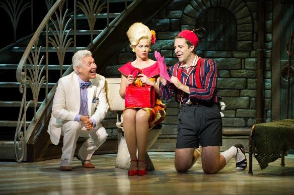 Tony Sheldon, Katrina Retallick and Matt Hetherington in Dirty Rotten Scoundrels. Photo: Kurt Sneddon