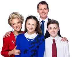 Blazey Best, Hilary Cole, Mike McLeish and Cameron Holmes as the Truswell family in Miracle City. Photo: Kurt Sneddon