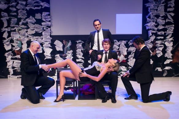 Debora Krizak in Ah, But Underneath written for Follies, with Dean Vince, Blake Erickson, Rob Johnson and Phillip Lowe. Photo: Michael Francis