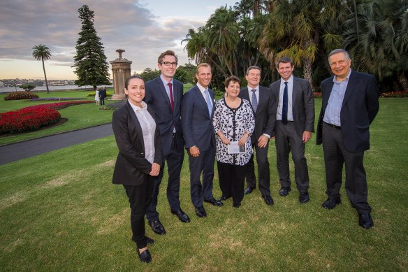 In front of the Choragic Monument of Lysicrates at the Royal Botanic Garden, Sydney after Premier Mike Baird announced the winner of the first Lysicrates Prize.From left:  Lee Lewis, Artistic Director Griffin Theatre Company, Finance Minister Dominic Perrottet, Environment Minister Rob Stokes, Patricia Azarias, Kim Ellis, Executive Director, Botanic Gardens and Centennial Parklands, John Azarias. Photo: Jessica Lindsay