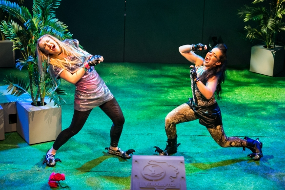 Adele Parkinson and Monique Salle as T-Rex 2 and 1. Photo: Michael Francis