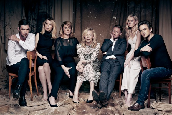 Toby Schmitz, Jacqueline McKenzie, Susan Prior, Cate Blanchett, Richard Roxburgh and Anna Bamford are among the 13-strong cast for The Present at Sydney Theatre Company. Photo: Steven Chee
