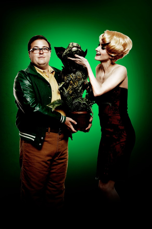 Brent Hill and Esther Hannaford with Audrey II. Photo: supplied